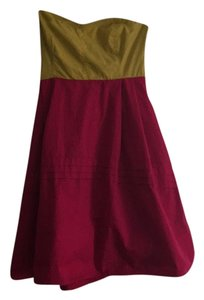 Maeve short dress Red, yellow, fuschia Strapless Empire Waist on Tradesy