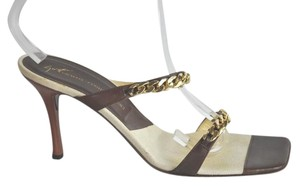 Giuseppe Zanotti Leather Gold Tone Link Embellished Size 41 Brown Sandals