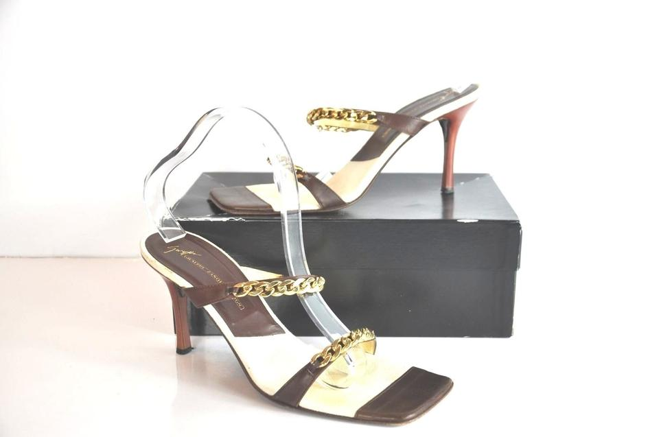 Giuseppe Zanotti Brown Brown Brown Leather Chain-link Embellished Sandals e14c99