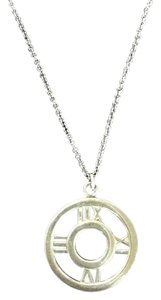 Tiffany & Co. Sterling Silver Atlas Roman Numerals Round Pendant Necklace