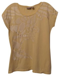 Chico's Embroidered Knit T Shirt Pale yellow w/ off-white embroidery