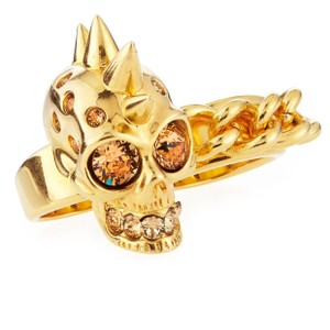 Alexander McQueen New Skull and Chain Two Finger Double Ring, Gold w/box and Jewelry Bag