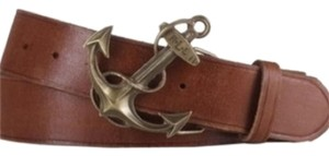 Lauren Ralph Lauren NWT Lauren by Ralph Lauren Brown Distressed Leather Anchor Belt SMALL