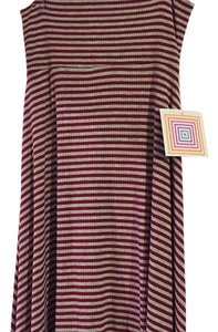 LuLaRoe Skirt Maroon and grey striped