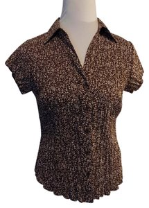 East 5th Essentials Petite Casual Floral Shortsleeve Top Brown and White