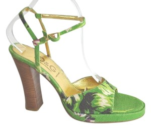 Dolce&Gabbana Canval Floral Green Sandals