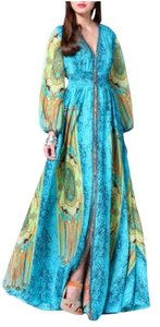 Blue` Maxi Dress by Gracia Kimono Split Fall