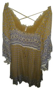 Free People short dress Mustard with navy and white print on Tradesy