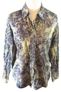 Coldwater Creek Casual Floral Longsleeve Button Down Shirt Green Multi-Color