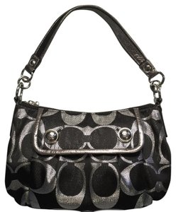 Coach Metallic 14438 Evening Black And Silver Shoulder Bag
