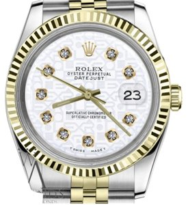 Rolex Women`s 26mm Datejust2Tone White Color Jubilee Dial with Diamonds