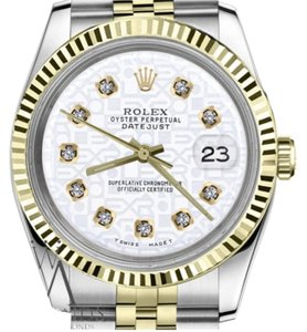 Rolex Women`s 31mm Datejust2Tone White Color Jubilee Dial with Diamonds