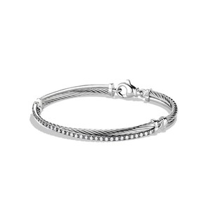 David Yurman Crossover Bracelet with Diamonds (Medium)