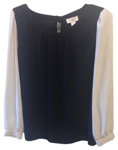 Ann Taylor LOFT Work Tie Back Top Black and White