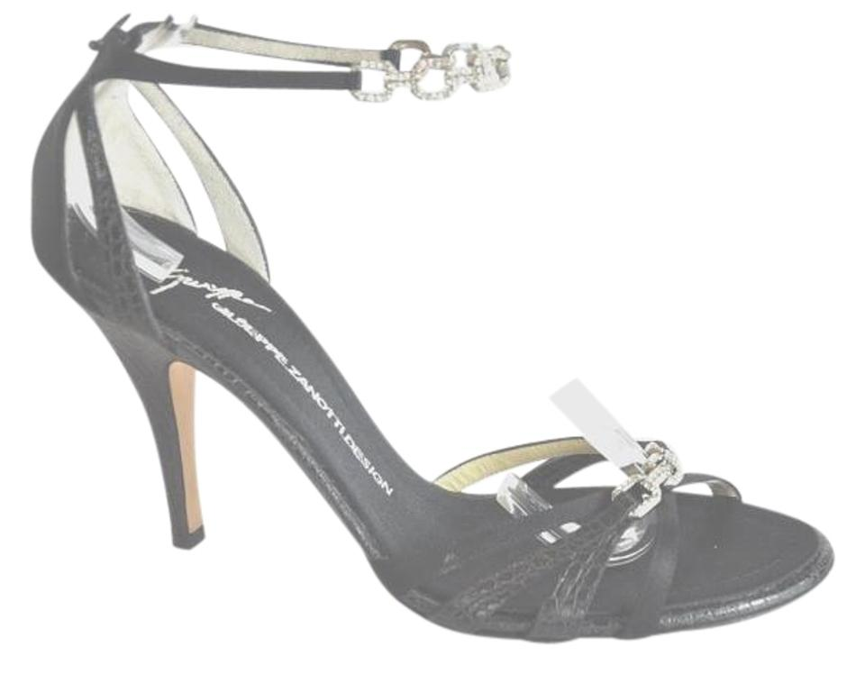 Giuseppe Zanotti and Black Embossed Leather and Zanotti Satin Embellished Sandals 759915