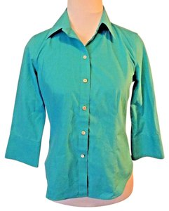 Talbots Casual Cotton Petite Solid Button Down Shirt Blue