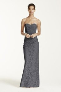 David's Bridal Grey Long Strapless Lace Dress With Sweetheart Neckline Dress