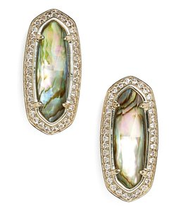 Kendra Scott New Aston Stud Oval Earrings, Abalone, 4217713448