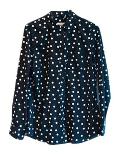 Merona Polka Dot Button Down Button Down Shirt Black & White