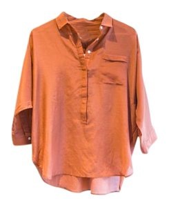 Ann Taylor LOFT Button Down Shirt Rusty Orange