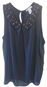 Design History Beaded Collar Work Top Blue
