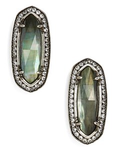 Kendra Scott New Aston Stud Oval Earrings, Black Mother of Pearl