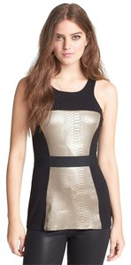 Bailey 44 Peplum Snakeskin Belted Bodycon Top Black