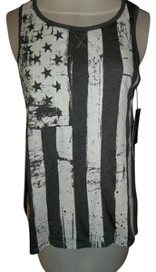 Rampage Medium Stars Stripes Top Charcoal Heather Grey