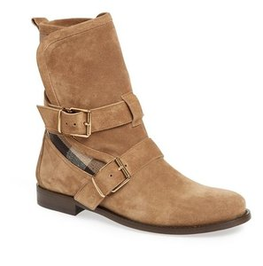 Burberry Suede Belted Moto Riding Brown Khaki Boots