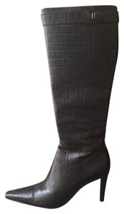 Ralph Lauren Stiletto Knee High Crocodile Brown Boots