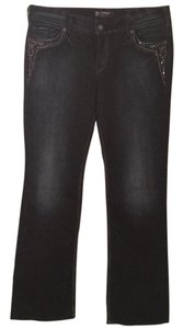 Silver Jeans Co. Embellished Stretchy Boot Cut Pants Dark wash