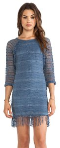 Nightcap short dress Blue Fringe Denim Crochet Fall on Tradesy