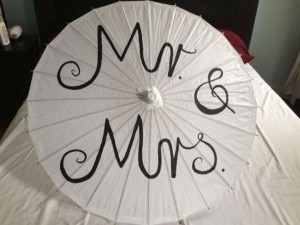 White Mr and Mrs Paper Parasol Reception Decoration