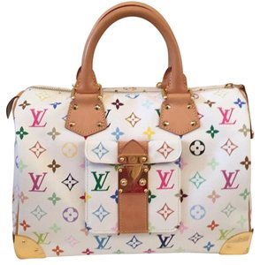Louis Vuitton Speedy Satchel in Multicolore White