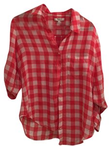 Madewell Button Down Shirt Red/White Silk