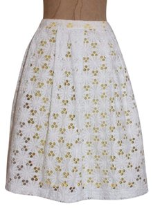 INC International Concepts Pleated Eyelet Skirt WHITE