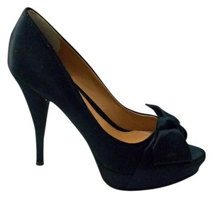 Boutique 9 9 Satin Platform Gia Stilettos Peep Toe Black Pumps