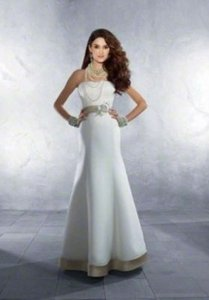 Alfred Angelo Ivory/Cafe Organza 2178 Formal Wedding Dress Size 8 (M)