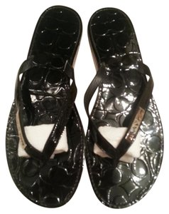 Coach Flip Flop Sandal Leather Black Sandals
