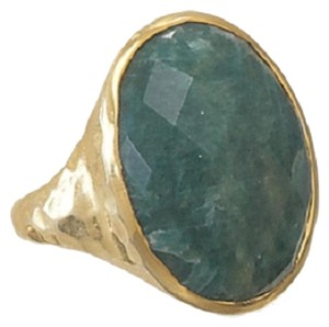 MMA Silver Stars Hammered Emerald Ring