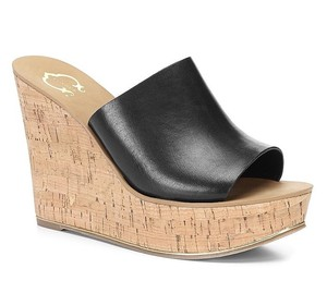 C. Wonder Cork Wedge Mule Black Sandals