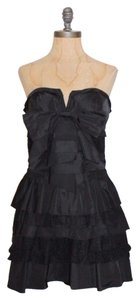 bebe Bow Tiered Bustier Evening Dress