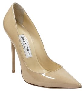 Jimmy Choo Anouk 36 Patent Leather Nude Pumps