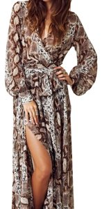 Brown Snakeskin Maxi Dress by Blu Moon