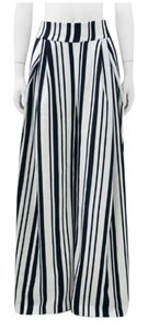 Gracia Stripe High Waist Wide Leg Pants Navy