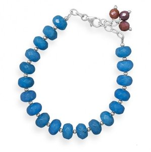 MMA Silver Star Ruby and Blue Quartz Extension Bracelet