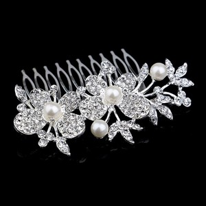 Cluster Pearl Flower Feather Leaf Vine Vintage Romantic Branch Bridal Wedding Engagement Clear White Rhinestone Prom