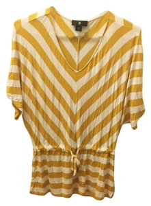 Striped Relaxed Fit Stretchy Top Yellow and White