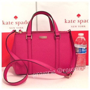 Kate Spade Saffiano Leather Leather Structured Double Zip Strap Tote in Pink