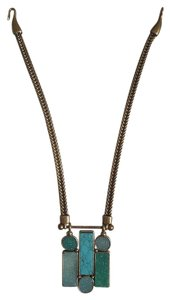 Lucky Brand Lucky Brand Antique Brass Blue Stones Statement Necklace